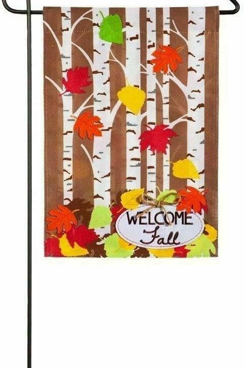 "Autumn Birch 14B4483 Evergreen Burlap Garden Flag 12.5"" x 18"""