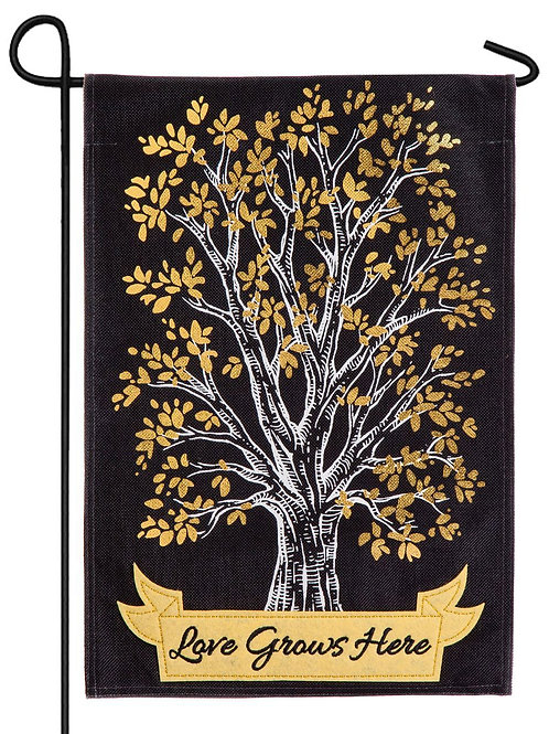 "Love Grows Here 14B4471BL Evergreen Burlap Garden Flag 12.5"" x 18"""