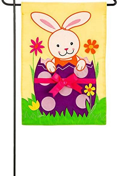 "Bunny Hatch 168629BL Evergreen Applique Garden Flag 12.5"" x 18"""