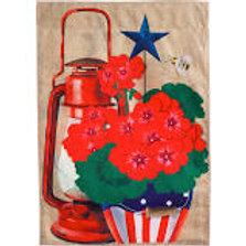 """**Open Flag** Rustic Patriotic Pot 13B4198BL Evergreen BURLAP HOUSE Flag 28""""x44"""""""