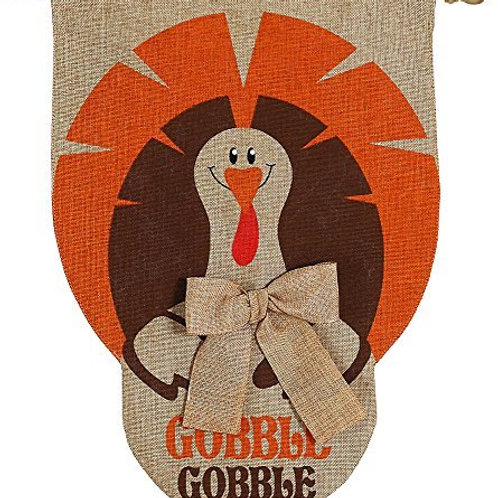 """Gobble Gobble Turkey 13B3564 Evergreen Burlap HOUSE Flag 28"""" x 44"""""""