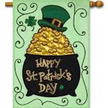 """Pot of Gold with Scrolls 158626BL Evergreen Applique HOUSE Flag 28"""" x 44"""""""