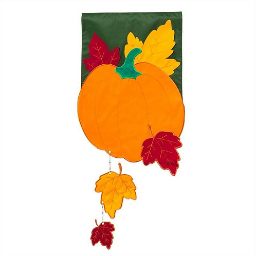 "Fall Pumpkin with falling leaves Evergreen Applique Garden Flag 12.5"" x 18"""