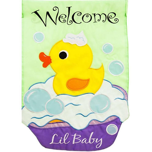 "Welcome Lil Baby 168654 Evergreen Applique Garden Flag 12.5"" x 18"""
