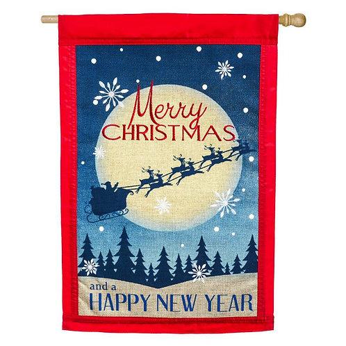 """Merry Christmas 13B3858 Evergreen Burlap HOUSE Flag 28"""" x 44"""""""