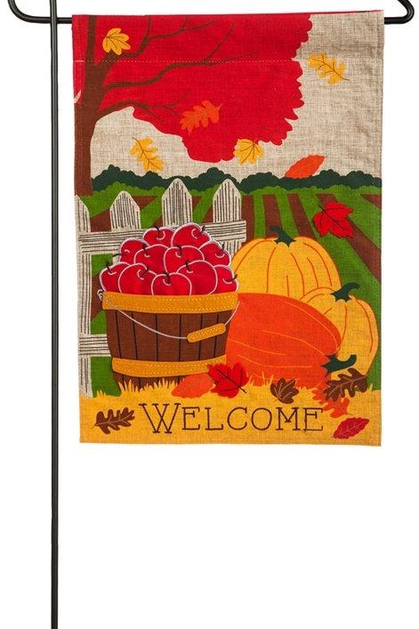 """Fall Field 14L4561 Evergreen Linen Garden Flag 12.5"""" x 18"""""""