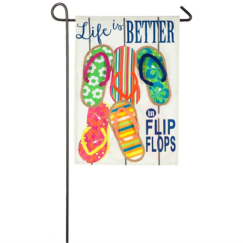 "Life Is Better In Flip Flops ZJCP14S4825 Evergreen Suede Garden Flag 12.5"" x 18"""
