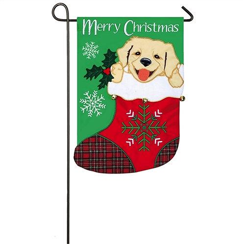 """Puppy in Stocking 168841 Evergreen Applique Garden Flag 12.5"""" x 18"""""""