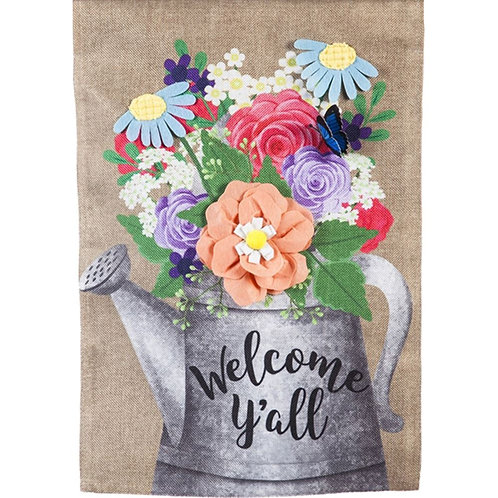 """Welcome Y'all Watering Can 14B8491 Evergreen Burlap Garden Flag 12.5"""" x 18"""""""