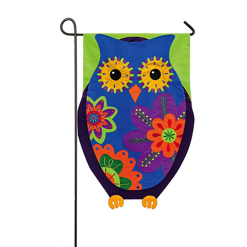 "Owl 168409 Evergreen Applique Garden Flag 12.5"" x 18"""
