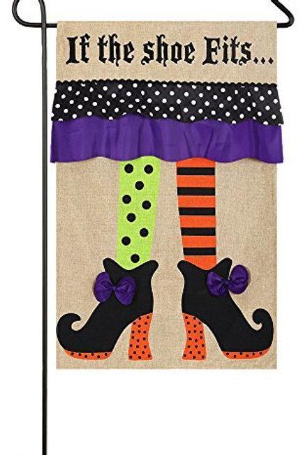 """Witch Feet 14B3442BL Evergreen Burlap Garden Flag 12.5"""" x 18"""""""