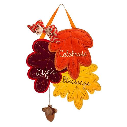 Count Your Blessings Felt Door Decor 2DHF1072BL Evergreen Door Hanger
