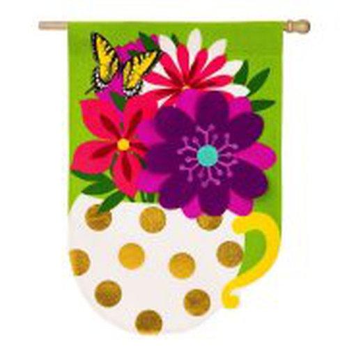 """**OPEN FLAG** Flower Mug 13B4051 Evergreen Burlap HOUSE Flag 28"""" x 44"""""""