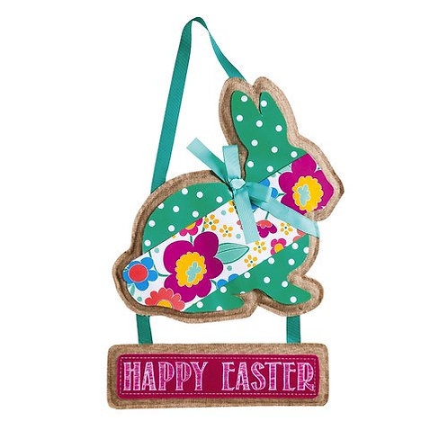 Happy Easter Bunny Door Decor 2DHB1027 Evergreen Door Hanger CORRECT PICTURE