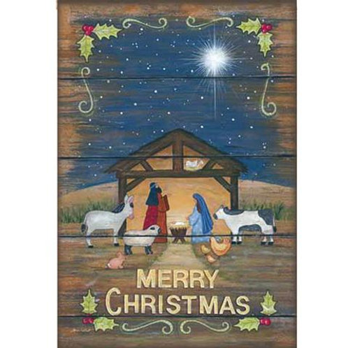 """**OPEN FLAG NO PACKAGING** Merry Christmas Nativity Suede House Flag 28""""W x 44""""H"""