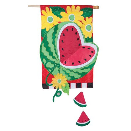 "**OPEN FLAG** Watermelon Summer 157595 Evergreen Applique HOUSE Flag 28"" x 44"""