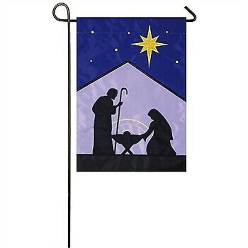"Star of Bethlehem 168862SA Evergreen Applique Garden Flag 12.5"" x 18"""