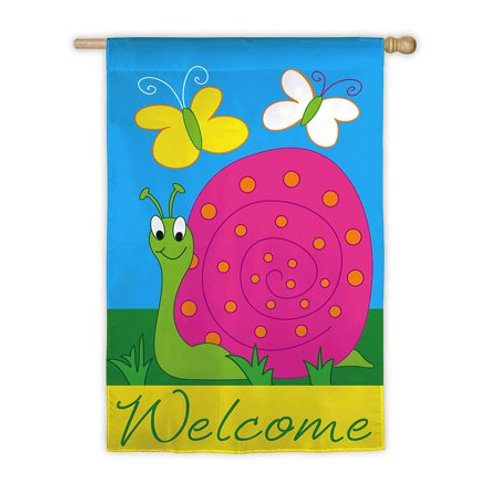 "**OPEN FLAG** Welcome Snail 151263 Applique HOUSE Flag 28"" x 44"""