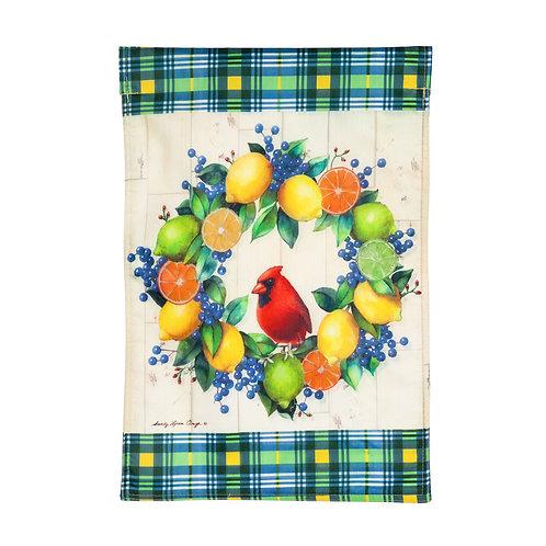"Summer Citrus Wreath 14T9843  Evergreen Strie Textile Garden Flag 12.5"" x 18"""