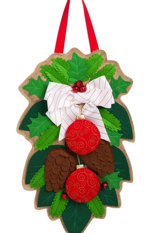Holiday Foliage Door Decor 2DHB1076BL Evergreen Door Hanger
