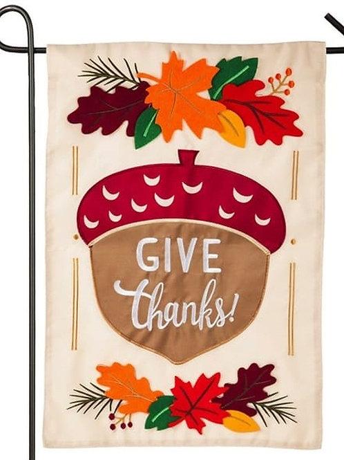 """Give Thanks Acorn 168694 Evergreen Applique Garden Flag 12.5"""" x 18"""""""