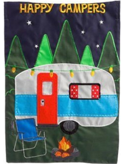 "Living the Life 168443BL Evergreen  Applique Garden Flag 12.5"" x 18"""