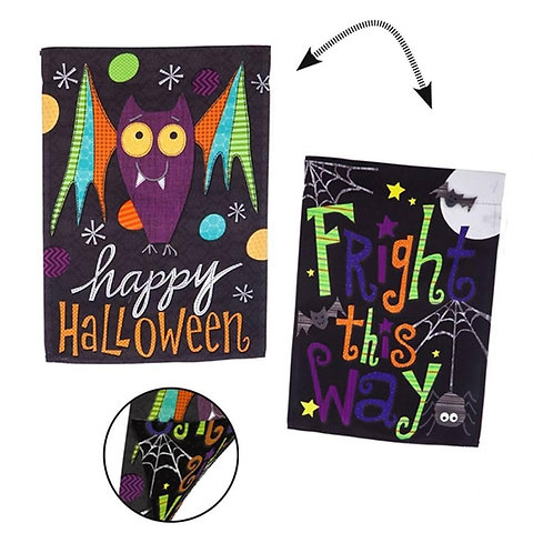"Halloween Bat Fright this Way 13S4594FB Evergreen Suede HOUSE Flag 28"" x 44"""