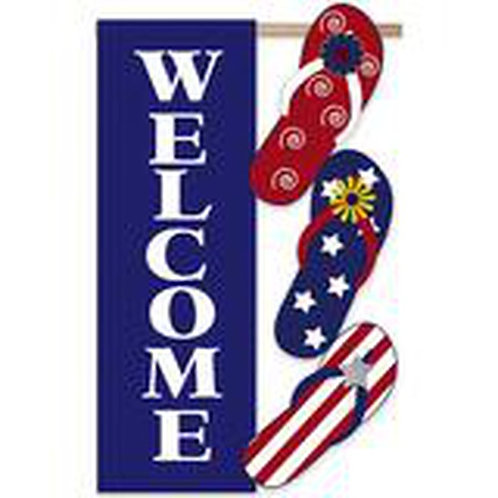 "Patriotic Flip Flop 168035 Evergreen Applique Garden Flag 12.5"" x 18"""
