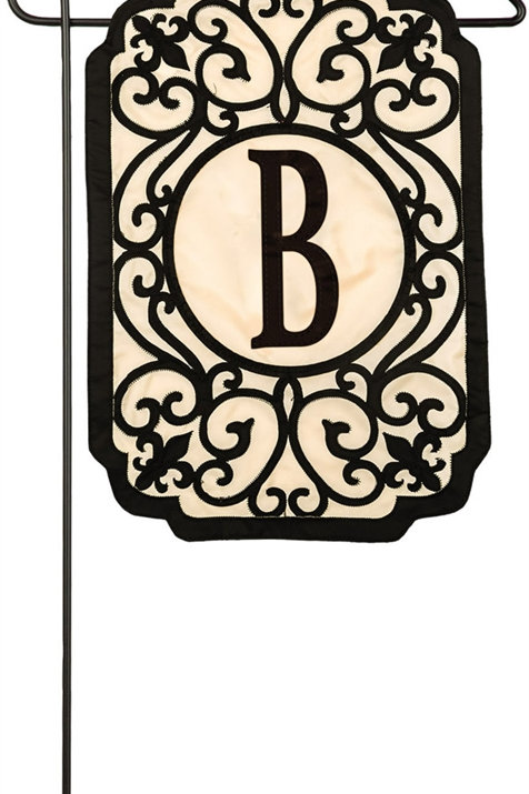 "Filigree Monogram Flags 168594 Evergreen Applique Garden Flag 12.5"" x 18"""
