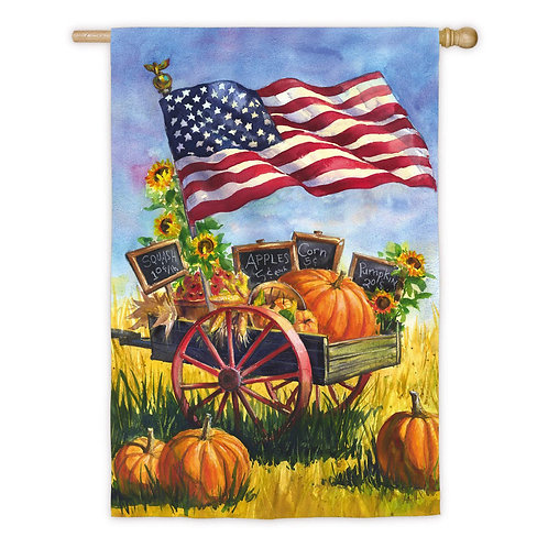 "**OPEN FLAG** Patriotic Farm Wagon 13A3897  Evergreen Suede HOUSE Flag 28"" x 44"""