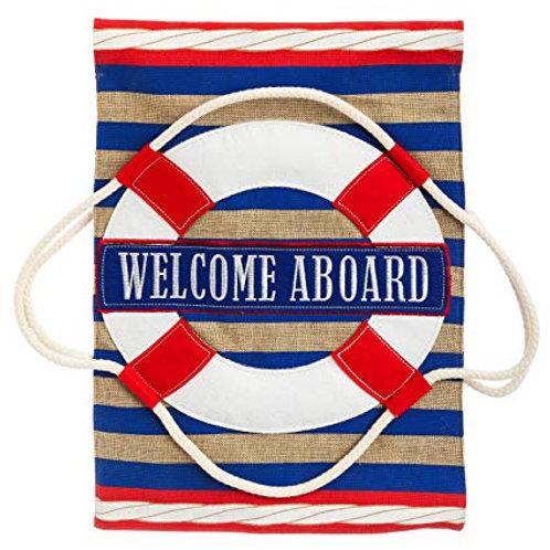 "**OPEN FLAG** Nautical Welcome 13B3768BL Evergreen Burlap HOUSE Flag 28"" x 44"""