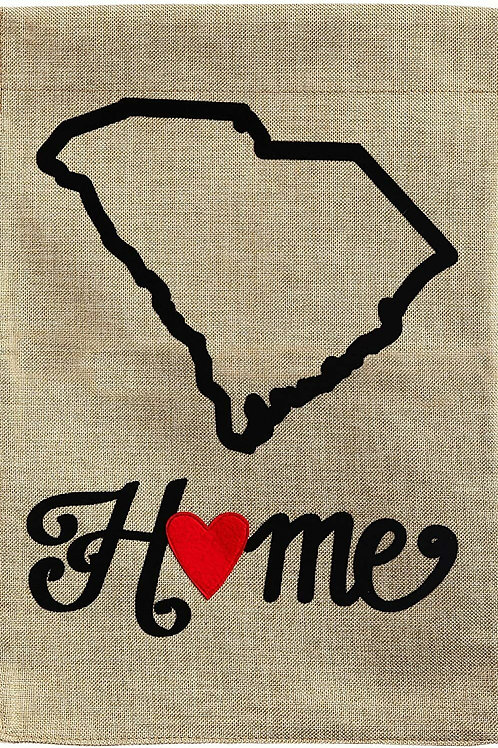 "South Carolina State of My Heart 14B384 Evergreen Burlap Garden Flag 12.5"" x 18"""