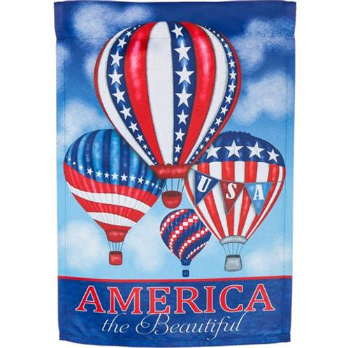 """**OPEN FLAG NO PACKAGING** Patriotic Balloons 13S4724 Suede HOUSE Flag 28"""" x 44"""""""