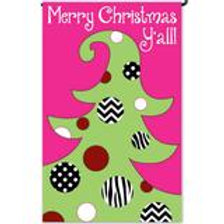 "**OPEN FLAG** Polka Dot Christmas Tree Evergreen Applique HOUSE Flag 28""x44"""