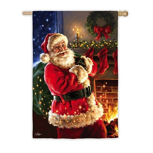 "Night Before Christmas 13A8173 Evergreen Satin HOUSE Flag 28"" x 44"""