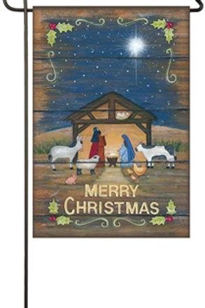 "Merry Christmas Nativity 14S4620 Evergreen Suede Garden Flag 12.5"" x 18"""