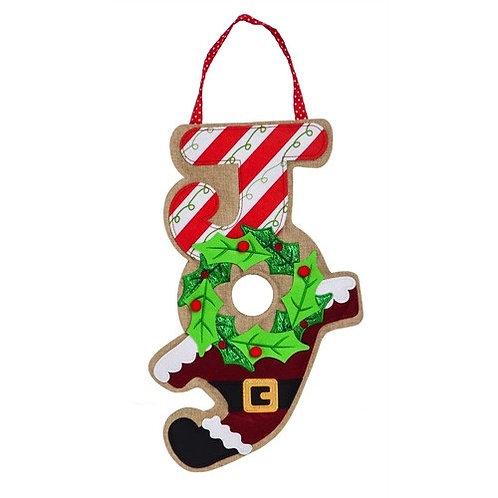 Holiday Joy Wreath Door Decor 2DHB1189 Evergreen Door Hanger