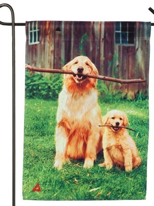 "Big and Little Dog with Sticks 14A4729 Evergreen Satin Garden Flag 12.5"" x 18"""