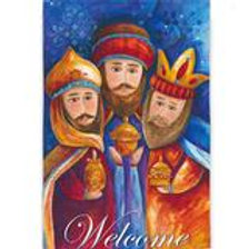 "Welcome Wise Men 13S2594 Evergreen Suede HOUSE Flag 28"" x 44"""