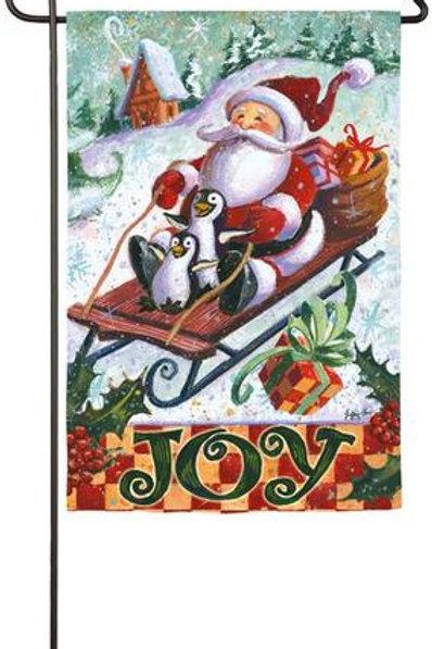 "Santa Sleighs 14S3965 Evergreen Suede Garden Flag 12.5"" x 18"""