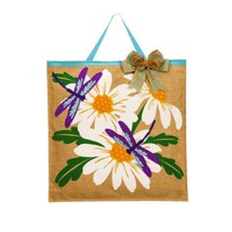 Daisies and Dragonflies Burlap Door Decor 2DHB1138 Evergreen Door Hanger