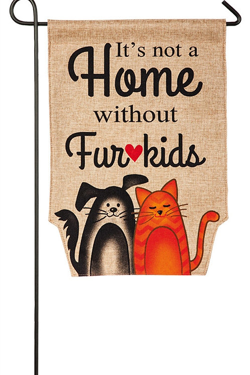 """Fur Kids 14B3730 Evergreen Burlap Garden Flag Pet 12.5"""" x 18"""""""