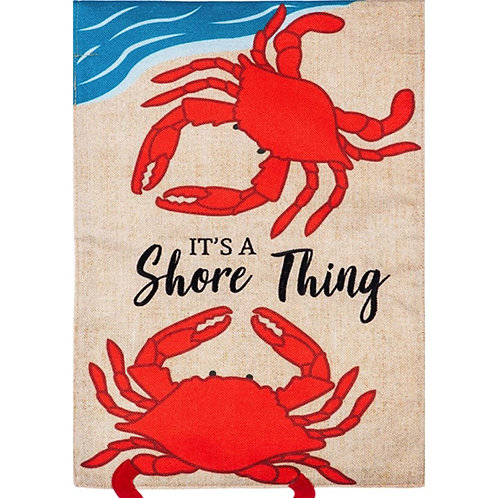 "**OPEN FLAG NO PACKAGING** Shore Thing Crabs 13B8570 Burlap HOUSE Flag 28"" x 44"""
