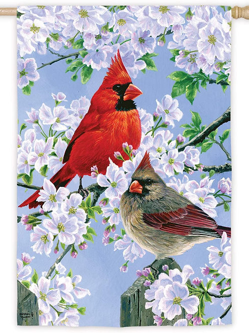 """Glorious Morning Cardinals 13S8463 Evergreen Suede House Flag 28"""" x 44"""""""