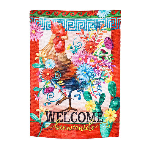 """Rooster Cha Cha 14ES9705 Evergreen Suede Garden Flag 12.5""""W x 18""""H"""