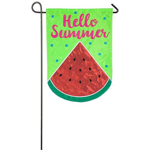 """Hello Summer Watermelon 168799 Evergreen Applique Garden Flag 12.5"""" x 18"""""""