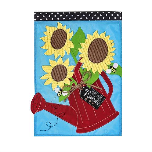 "Sunflower Watering Can ZKL168949 Evergreen Applique Garden Flag 12.5"" x 18"""