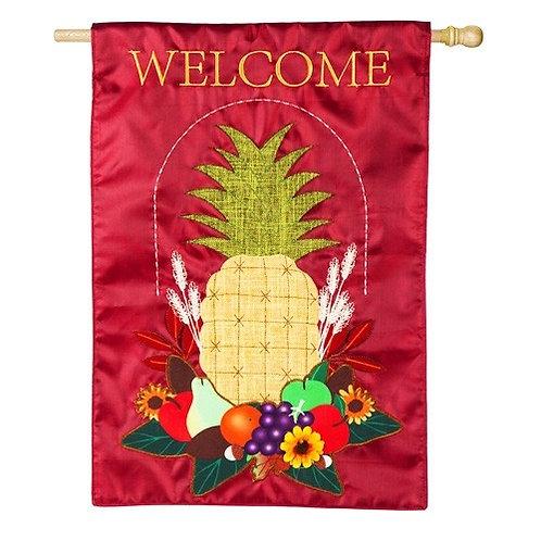 """**OPEN FLAG** Harvest Pineapple 13B8312  Evergreen Burlap HOUSE Flag 28"""" x 44"""""""