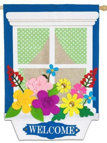 "**OPEN FLAG** Window Box 13B4027BL Evergreen Burlap HOUSE Flag 28"" x 44"""