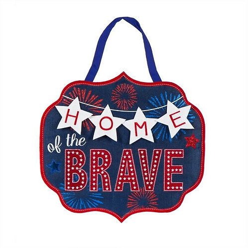 Home of the Brave Burlap Door Décor 2DHB1299 Evergreen Door Hanger